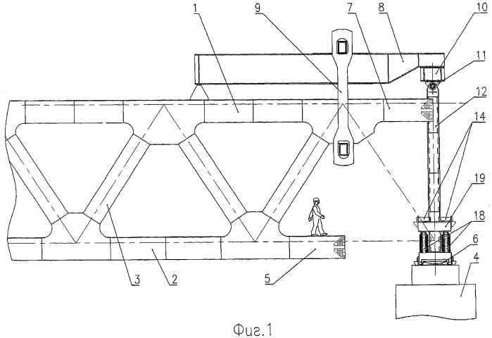 device to eliminate flexure of bridge span structure cantilever in the case of cantilevered